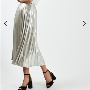 TOPSHOP Silver Metallic Pleat midi Skirt